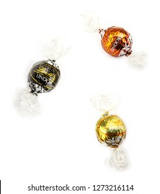 Aytos, Bulgaria - April 02, 2014: Milk Chocolate Lindor Truffle. Lindt Is Recognized As A Leader In The Market For Premium Quality Chocolate.