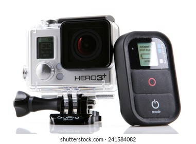 AYTOS, BULGARIA - JANUARI 04, 2015: GoPro HERO3+ Black Edition isolated on white background. GoPro is a brand of high-definition personal cameras, often used in extreme action video photography.