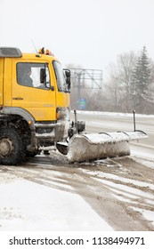 AYTOS, BULGARIA - January 25, 2011: Snowplow cleans the streets of the city.