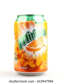 Aytos, Bulgaria - June 05, 2017: Mirinda isolated on white background. Mirinda is a brand of soft drink originally created in Spain, with global distribution.