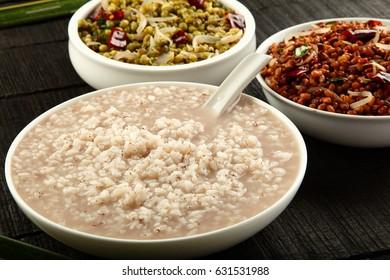 Ayurveda medicinal porridge with rice and mung,red beans,