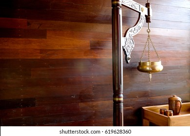 Ayurveda spa treatment. Copper vessel for shirodhara