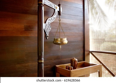 Ayurveda spa treatment. Copper vessel for shirodhara