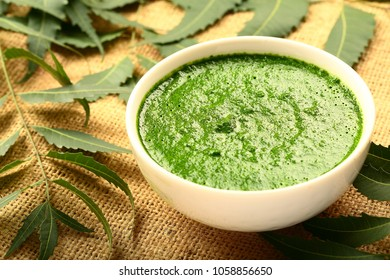 Ayurvedic anti ageing skin face pack made of wild neem tree leaves ,flowers and seeds.