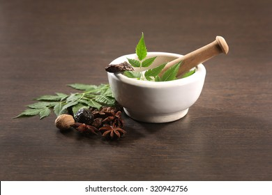 Ayurvedic Herbs with Mortar and Pestle