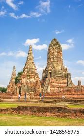 AYUTHAYA, Thailand - August 04, 2018 : Wat Chaiwatthanaram temple in Ayuthaya Historical Park, a UNESCO world heritage site in Thailand
