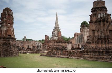 Ayuthaya , Thailand - JULY 6, 2017 : Old Temple Landmark of Ayuthaya Province (Ayutthaya Historical Park) Asia Thailand