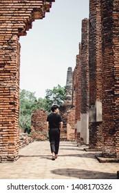 ayuthaya thailand - May 27,2019 : unidentified tourist walking in wat yai chaimongkol one of most popular traveling destination in ayuthaya world heritage site of unesco thailand