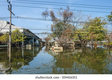Ayuthaya, THAILAND - November 18, 2011: Factories and housing in the area of an Industrial Estate in was underwater during the big flooding in Thailand.