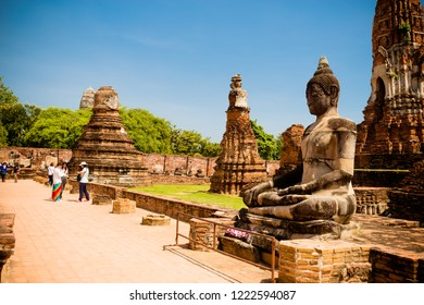 Ayuthaya, Thailand - October 13,2018 : This is the Wat  Mahathat in Ayuthaya historical park. is declared as a World Heritage Site by UNESCO.Ayutthaya province,Thailand