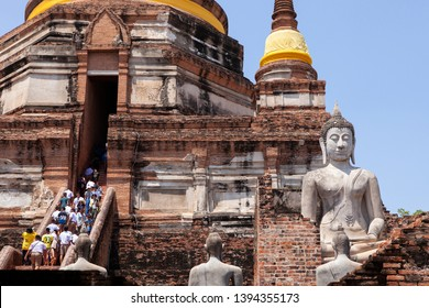 ayuthaya thailand - september14,2017 : large number of tourist attraction to wat yai chaimongkol one of most popular traveling destination in ayuthaya world heritage site of unesco in thailand
