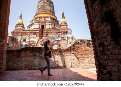 ayuthaya thailand - september14,2017 : unidentified tourist walking in wat yai chaimongkol one of most popular traveling destination in ayuthaya world heritage site of unesco thailand