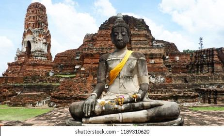 Ayuthaya, Wat Mahathat Thailand - September 16,2018 : Ayuthaya national historic