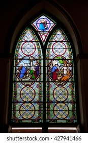 AYUTHAYAI, THAILAND - MAY 6 : Stained glass window in St. Joseph Church in Ayuthaya, Thailand on May 6,2016.