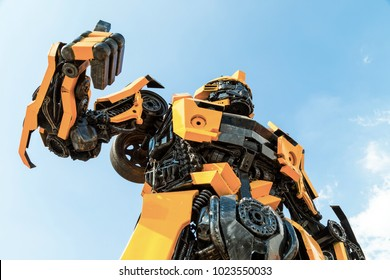 Ayuttaya, Thailand - November 15, 2015 : The Replica of Bumblebee robot made from iron part of a Car display at Thung Bua Chom floating market