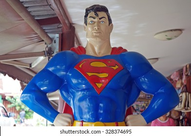 AYUTTAYA ,THAILAND- OCTOBER 10, 2015: Superman model standing in front of the shop at Thung Bua Chom floating market