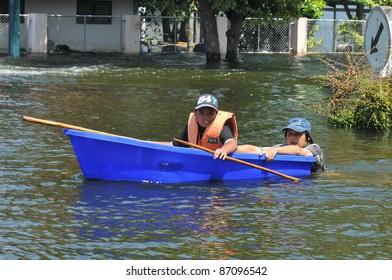 AYUTTAYA, THAILAND - OCTOBER 17: flooded city center during the monsoon season in Ayuttaya, Thailand on October 17, 2011
