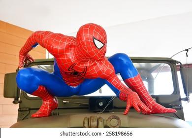AYUTTAYA,THAILAND - MARCH 04, 2015: Spider-Man model display on car at Thung Bua Chom floating market