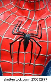 AYUTTAYA,THAILAND - NOVEMBER 08, 2014: Close-up logo of Spider-Man model at Thung Bua Chom floating market