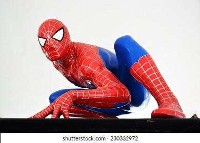 AYUTTAYA,THAILAND - NOVEMBER 08, 2014: Spider-Man model at Thung Bua Chom floating market
