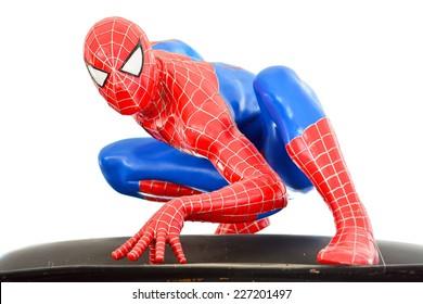 AYUTTAYA,THAILAND - OCTOBER 04, 2014: Spider-Man model at Thung Bua Chom floating market