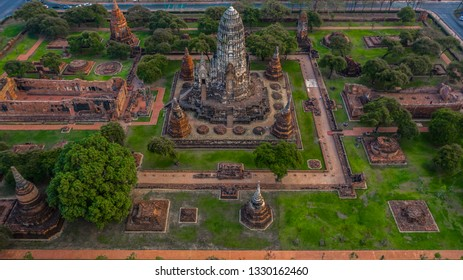 Ayutthaya Historical Park, Phra Nakhon Si Ayutthaya, Ayutthaya, Thailand, view from above.