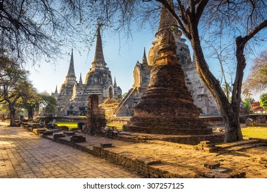 Ayutthaya Historical Park, Phra Nakhon Si Ayutthaya. Temple Pagoda in Ayutthaya of Thailand on sunrise.