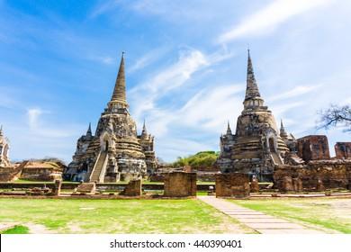 Ayutthaya Historical Park stupa under blue sky, Phra Nakhon Si Ayutthaya, Ayutthaya ,THAILAND