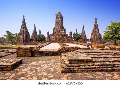 Ayutthaya Historical Park, Thailand, view of Wat Chaiwatthanaram temple.