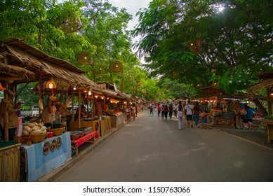 Ayutthaya Night Market,Thailand - JULY 27, 2018  Krungsri Market is a new market of the province. Located behind the old town hall.