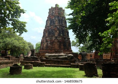 Ayutthaya, Pagoda at Wat Mahathat, One of the famous temple in Ayutthaya,Temple in Ayutthaya Historical Park, Ayutthaya Province, Thailand. UNESCO world heritage