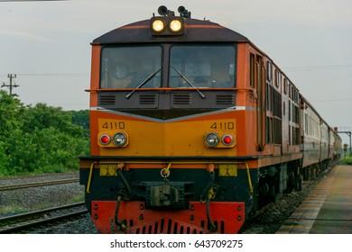 AYUTTHAYA THAILAND - 21 MAY 2017 : Locomotive train at Bang Pa-in station.