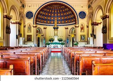 Ayutthaya, Thailand - 23 JUN 2018 : Inside Saint Joseph Catholic Church, Ayutthaya Thailand