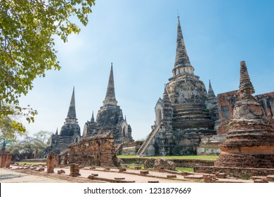 Ayutthaya, Thailand - Apr 10 2018: WAT PHRASISANPETH in Ayutthaya, Thailand. It is part of the World Heritage Site - Historic City of Ayutthaya.