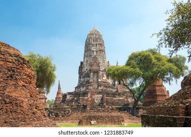 Ayutthaya, Thailand - Apr 10 2018: WAT RATCHABURANA in Ayutthaya, Thailand. It is part of the World Heritage Site - Historic City of Ayutthaya.