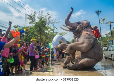 AYUTTHAYA, THAILAND - APR 14: Revelers enjoy water splashing with elephants during Songkran Festival on Apr 14, 2016 in Ayutthaya,Thailand. Water splashing is the way Thai people celebrate New Year.