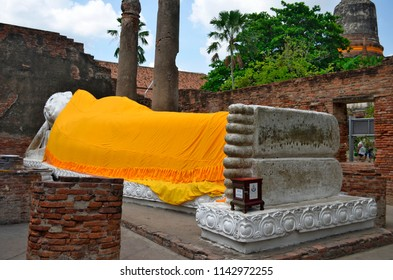 Ayutthaya, Thailand - April 14, 2017: The reclining Buddha of Wat Yai Chai Mongkhon.