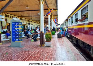 Ayutthaya, Thailand - April 14, 2017: Passengers boarding the train at Ayutthaya Station.