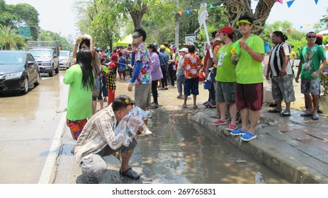 AYUTTHAYA, THAILAND - APRIL 14 : Thai people and traveler foreigner join with Songkran Festival is celebrated in a traditional New Year's Day at ayutthaya road on April 14, 2015 in Ayutthaya, Thailand