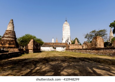 AYUTTHAYA, THAILAND - APRIL 23, 2016: Wat Phutthaisawan (thai name): Pagoda Khmer art style. Prang area surrounded by a balcony with a gilded buddha mold reclining buddha  at ayutthaya, Thailand.