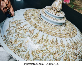 AYUTTHAYA THAILAND Craft Week - September 3, 2017 Wat Mahathat : Thai people working show the process of painting Ceramic Benjarong is traditional Thai five basic colors style pottery thailand.