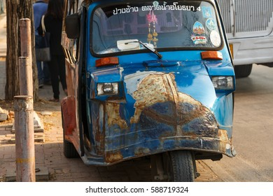 AYUTTHAYA, THAILAND - FEBRUARY 25, 2017: Tuk Tuk vintage cars Taxi transport tourists In the district of The capital Ayutthaya, thailand