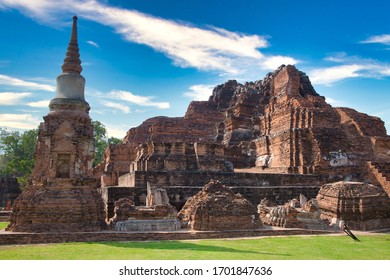 Ayutthaya, Thailand - January, 2020: Pagoda at Wat Chaiwatthanaram temple, One of the famous temple in Ayutthaya Province Thailand. UNESCO world heritage. Temple in Ayutthaya Historical Park.