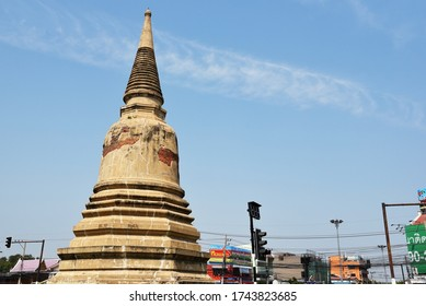AYUTTHAYA, THAILAND- JANUARY 27, 2019: Stupa at the entrance to the city on January 27 2019 in Ayutthaya, Thailand