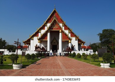 AYUTTHAYA, THAILAND- JANUARY 29, 2019: main Temple at a park on January 292019 in Ayutthaya, Thailand