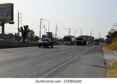 AYUTTHAYA, THAILAND- JANUARY 29, 2019: highway to Bangkok on January 292019 in Ayutthaya, Thailand