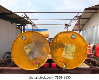 Ayutthaya, Thailand - January 6, 2018 : Oil tanks on metal bar at construction site.