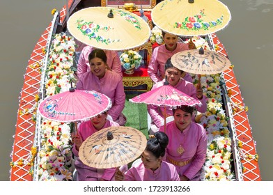 AYUTTHAYA, THAILAND - July 16, 2019 : Buddhists do candle festival parade by boat (Aquatic Phansa) at Ladchado canal in Phra Nakhon Si Ayutthaya Province, Thailand.