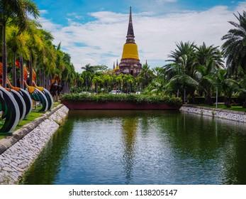 AYUTTHAYA, THAILAND - JULY 18 : Beautiful view of the pagoda at Wat Yai Chai Mongkol Ayutthaya. on the July 18, 2018 in Ayutthaya, Thailand