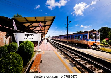 AYUTTHAYA THAILAND- July, 20,2019: Ayutthaya Railway Station It is popular with foreign tourists traveling from Bangkok to Ayutthaya Historical Park , Ayutthaya , Thailand.